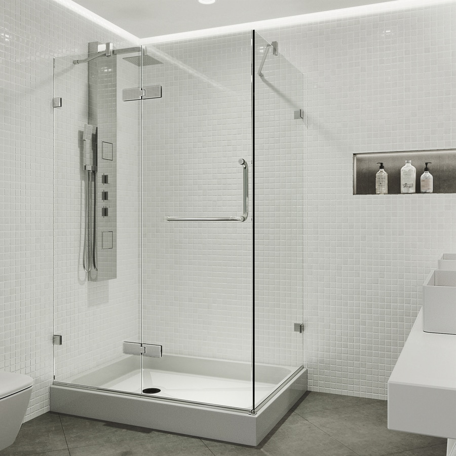 VIGO Monteray 40-in to 40-in Frameless Chrome Hinged Shower Door