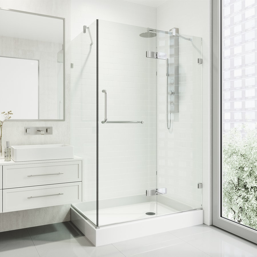 VIGO Monteray 40-in to 40-in Frameless Frameless Hinged Shower Door