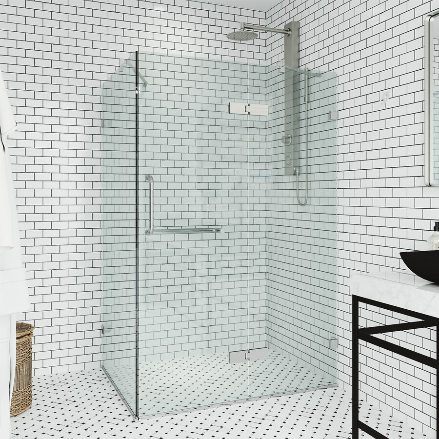 VIGO Monteray 23.625-in to 23.625-in Frameless Hinged Shower Door