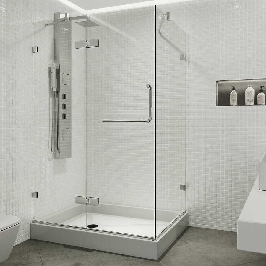 Shop VIGO Monteray 48 In To 48 In Frameless Chrome Hinged Shower Door At Lowe