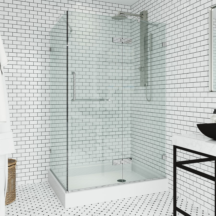 VIGO Monteray 48-in to 48-in Frameless Chrome Hinged Shower Door