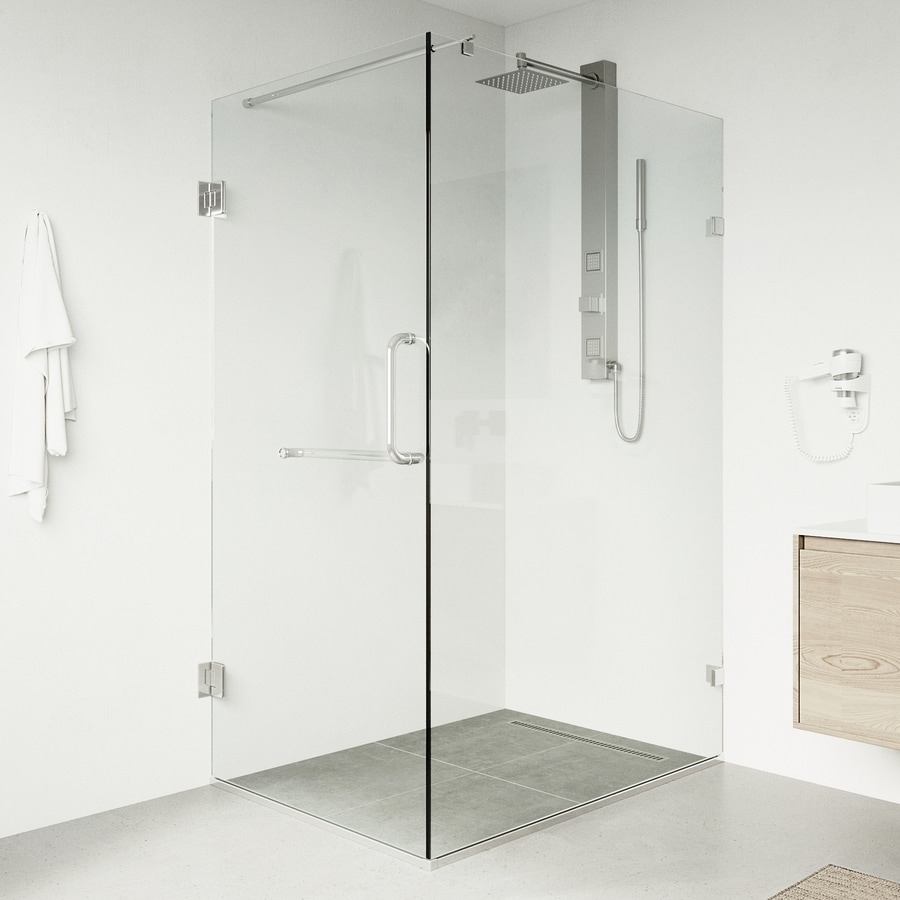 VIGO 36-in to 48-in Frameless Hinged Shower Door