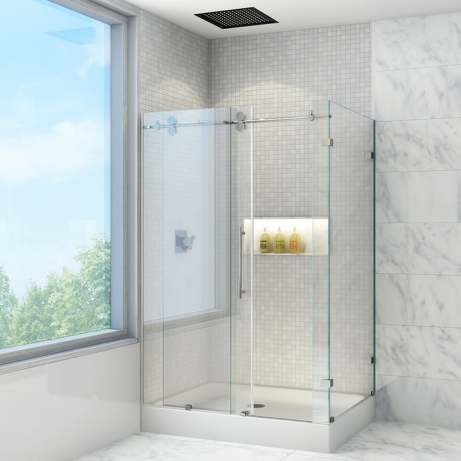 VIGO Frameless Showers 34.625-in to 36.125-in W x 79.875-in H Frameless Sliding Shower Door