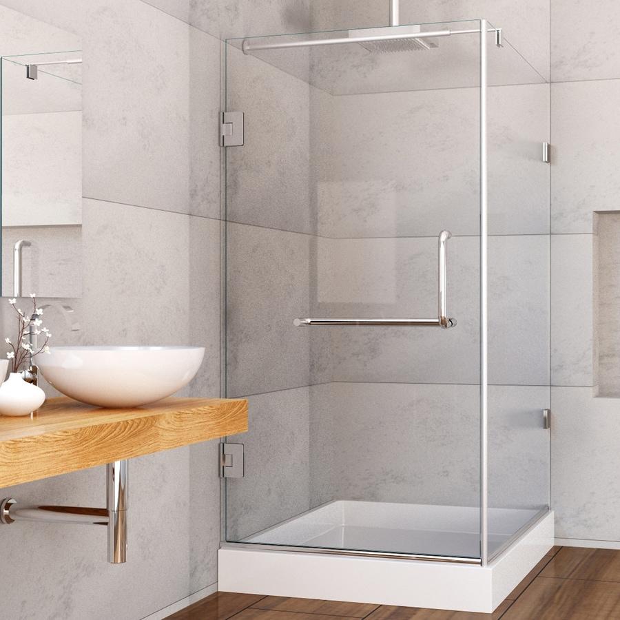 VIGO Pacifica 36-in to 36-in Frameless Chrome Hinged Shower Door