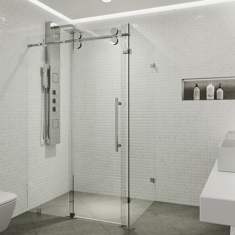 VIGO Winslow 56-in to 60-in Frameless Chrome Sliding Shower Door