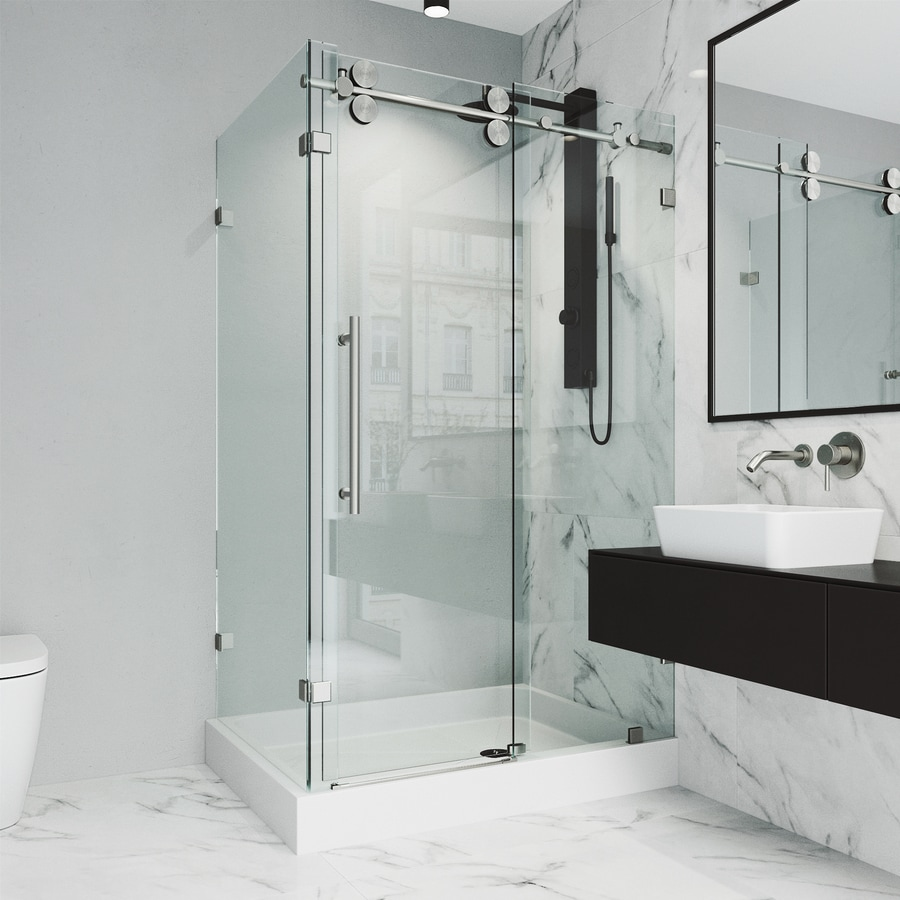 VIGO Winslow 48-in to 48-in Frameless Stainless Steel Sliding Shower Door