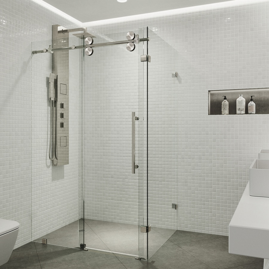 VIGO Winslow 56-in to 60-in Frameless Stainless Steel Sliding Shower Door