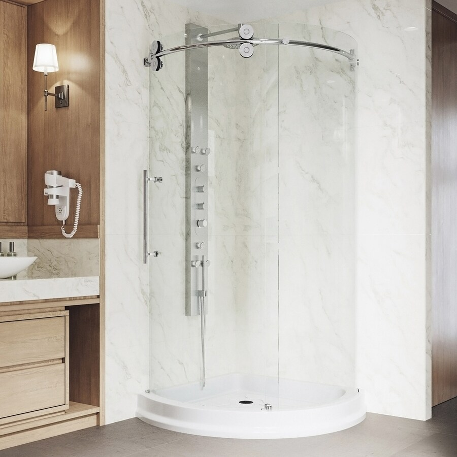 VIGO Sanibel Chrome Acrylic Floor Round 3 Piece Corner Shower Kit  Actual   79 5Shop VIGO Sanibel Chrome Acrylic Floor Round 3 Piece Corner Shower  . Lowes Corner Shower Kit. Home Design Ideas