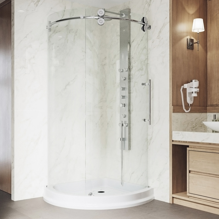 VIGO Sanibel Chrome Walls Not Included Wall Acrylic Floor Round 3-Piece Corner Shower Kit (Actual: 79.5-in x 40.5-in x 40.5-in)