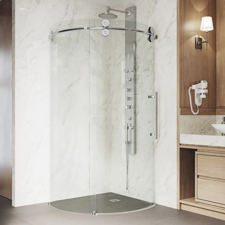 VIGO Sanibel 36-in to 36-in W x 74.625-in H Frameless Sliding Shower Door