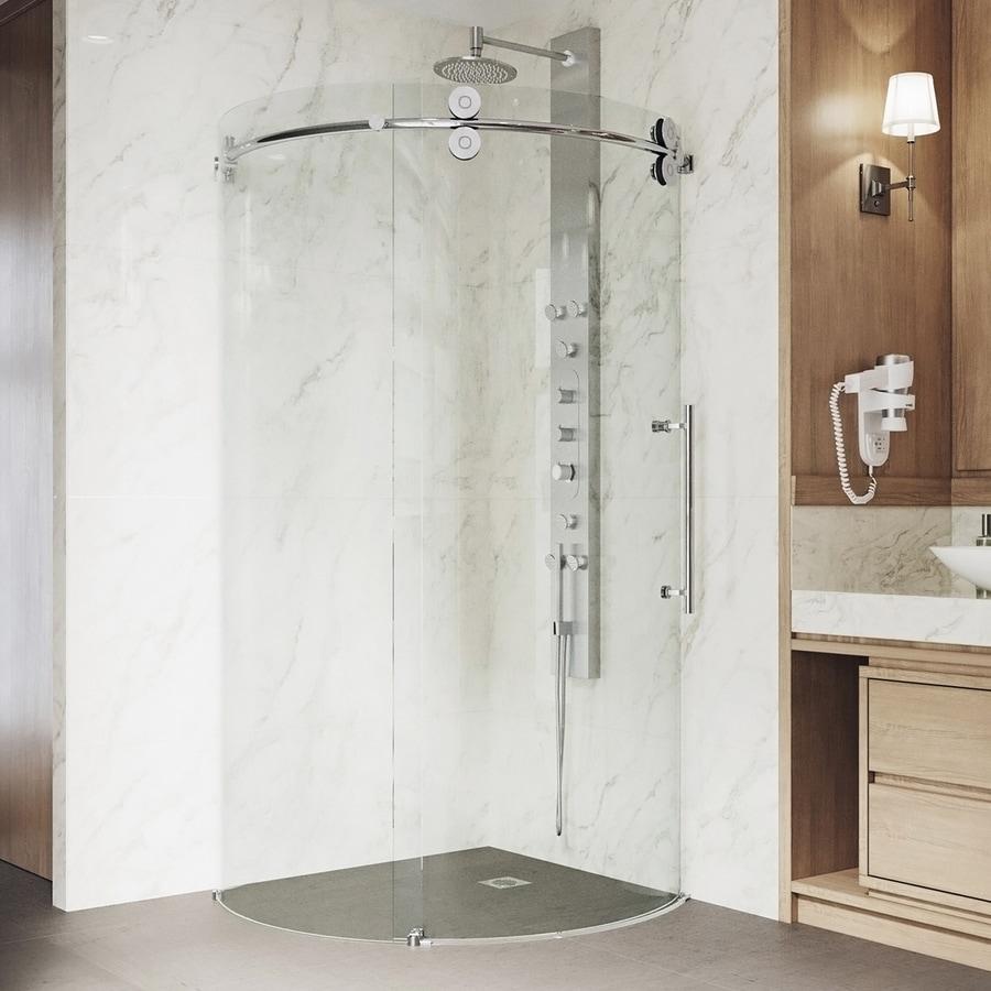 VIGO Sanibel 36-in to 36-in Frameless Chrome Sliding Shower Door