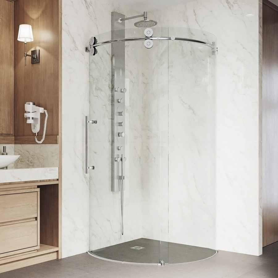VIGO Sanibel 40-in to 40-in Frameless Chrome Sliding Shower Door