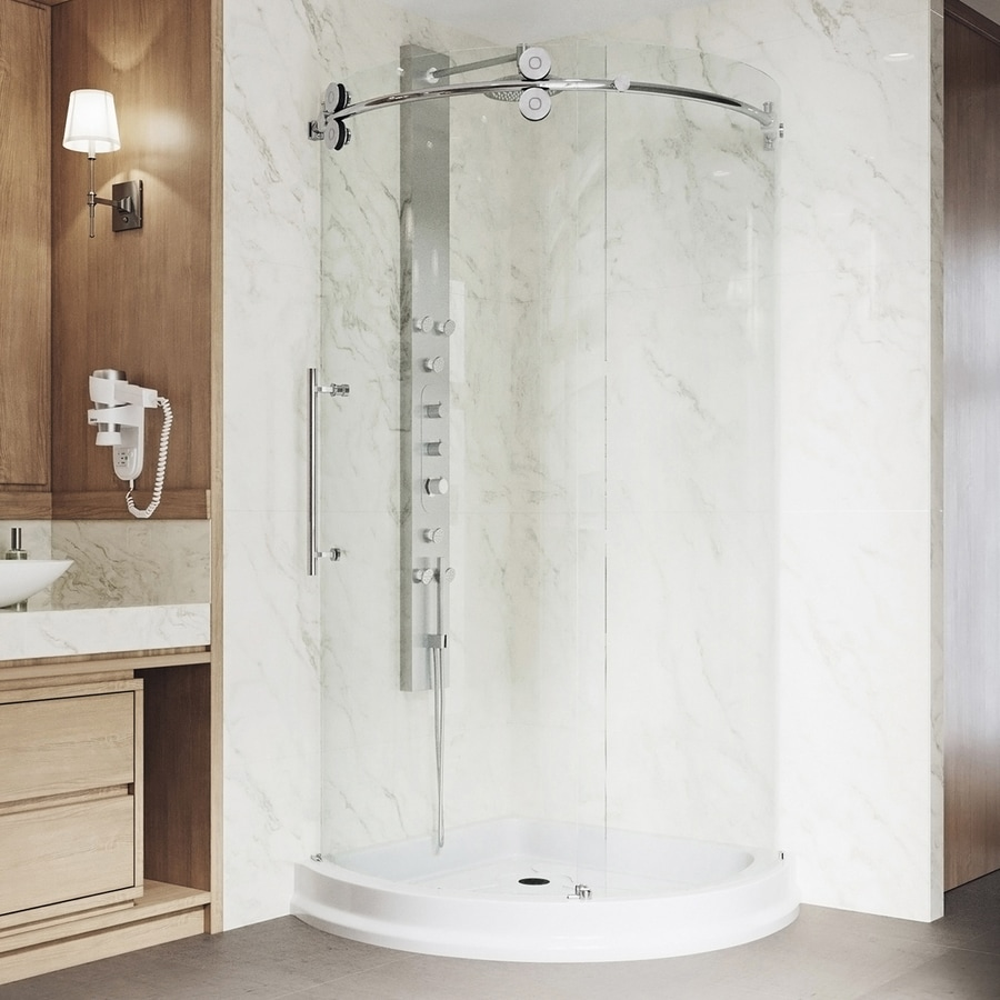 VIGO Frameless Showers Chrome Walls Not Included Wall Acrylic Floor Round 3-Piece Corner Shower Kit (Actual: 79-in x 43.625-in x 43.625-in)