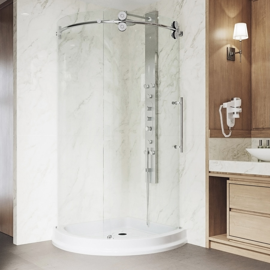 VIGO Sanibel Chrome Acrylic Floor Round 3-Piece Corner Shower Kit (Actual: 79.5-in x 43.625-in x 43.625-in)