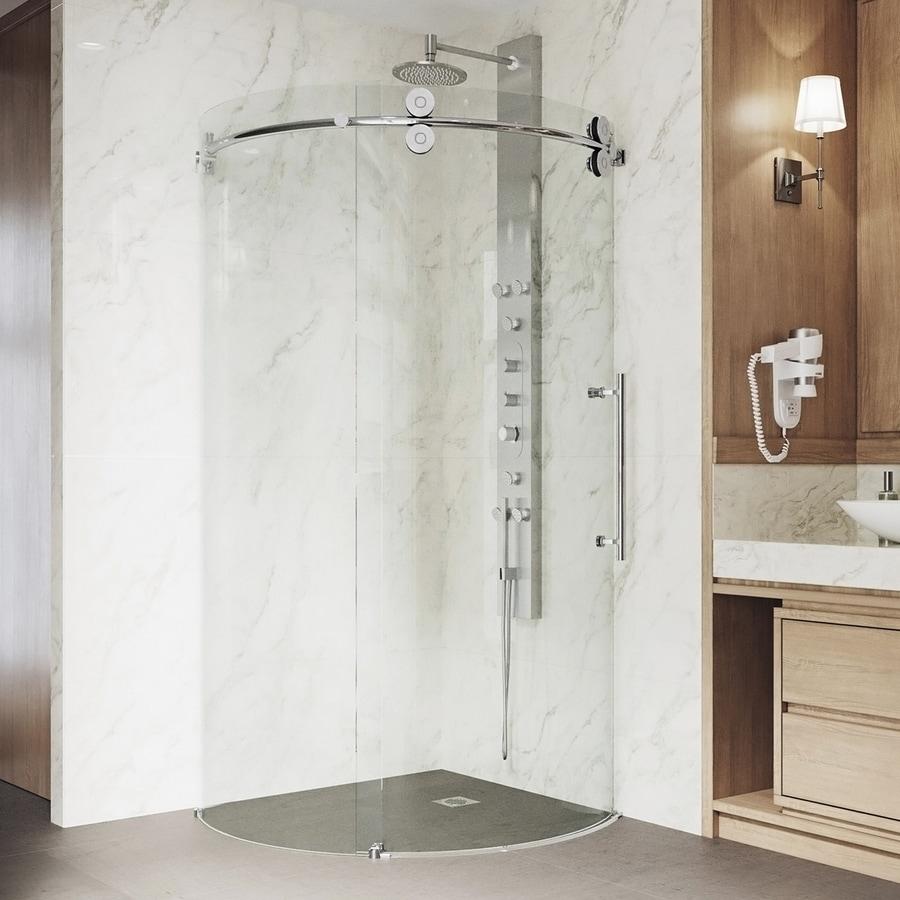 VIGO Sanibel 40-in to 40-in Frameless Chrome Sliding Shower Door