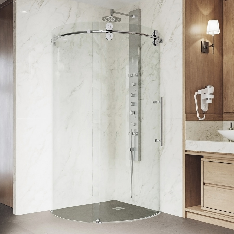 VIGO Sanibel 36.375-in to 36.375-in W x 74.625-in H Frameless Sliding Shower Door