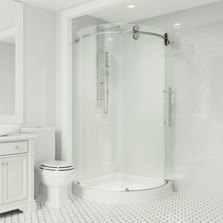 VIGO Frameless Showers Stainless Steel Walls Not Included Wall Acrylic Floor Round 3-Piece Corner Shower Kit (Actual: 79-in x 40.5-in x 40.5-in)