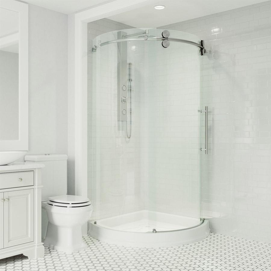 VIGO Sanibel Stainless Steel Walls Not Included Wall Acrylic Floor Round 3-Piece Corner Shower Kit (Actual: 79.5-in x 40.5-in x 40.5-in)