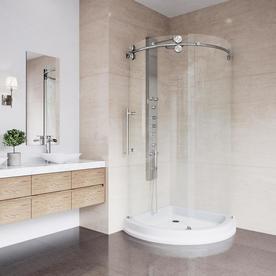 Vigo Sanibel Stainless Steel Acrylic Floor Round 3 Piece Corner Shower Kit Actual