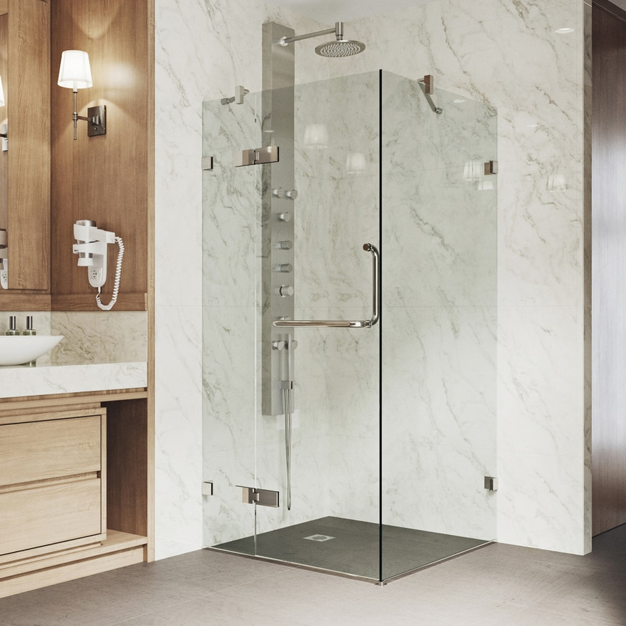 VIGO Monteray 19.75-in to 19.75-in Frameless Hinged Shower Door