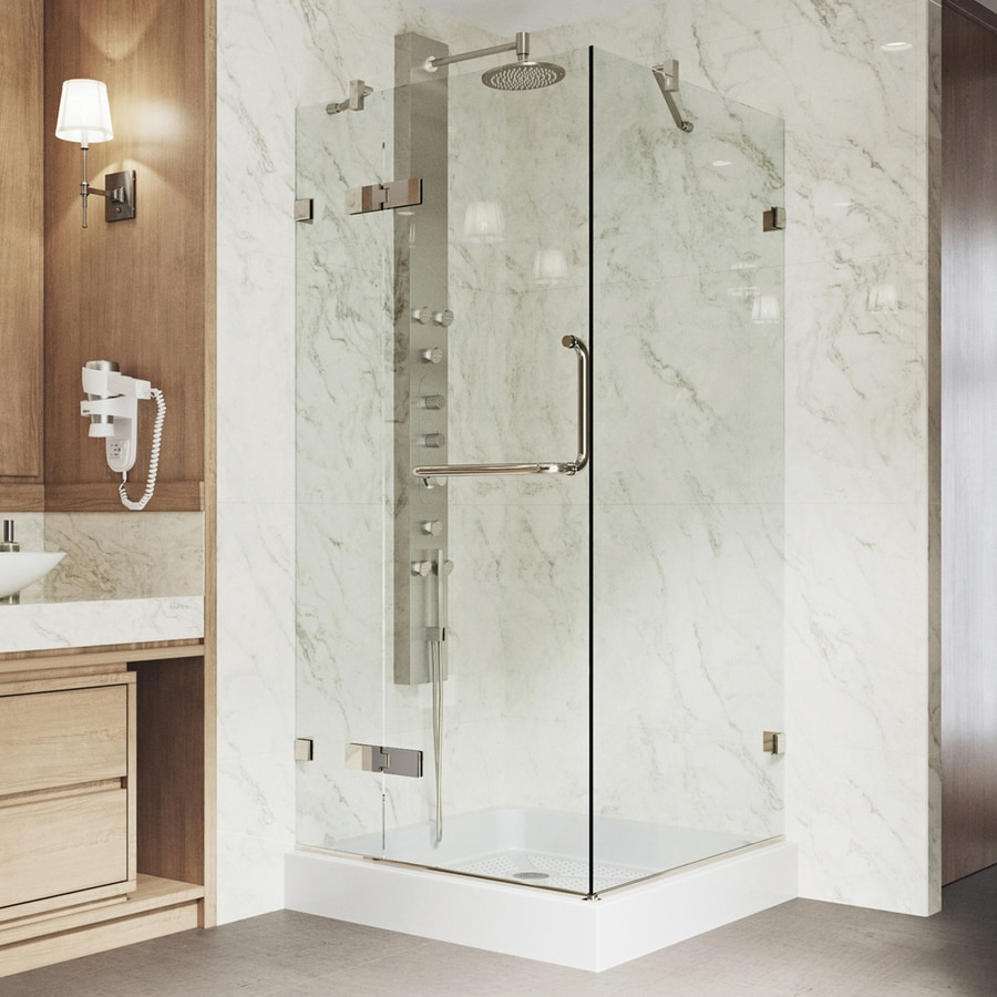 Shop Vigo Monteray 32 In W Brushed Nickel Hinged Shower Door At