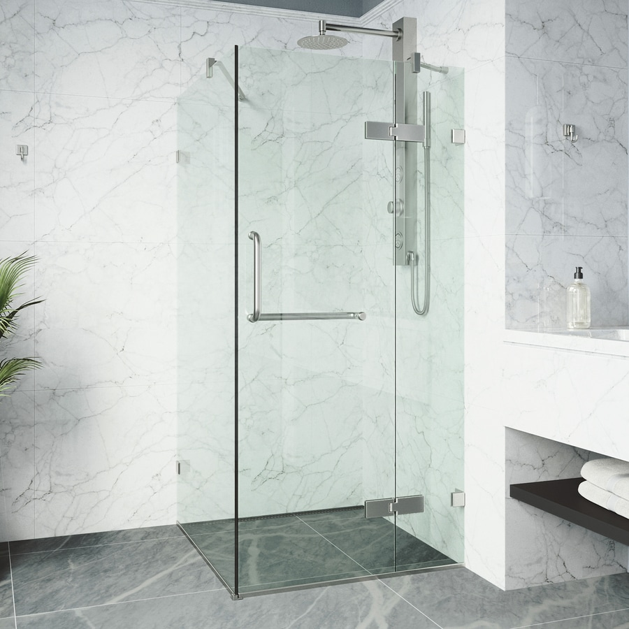 VIGO Monteray 22.875-in to 22.875-in Frameless Hinged Shower Door