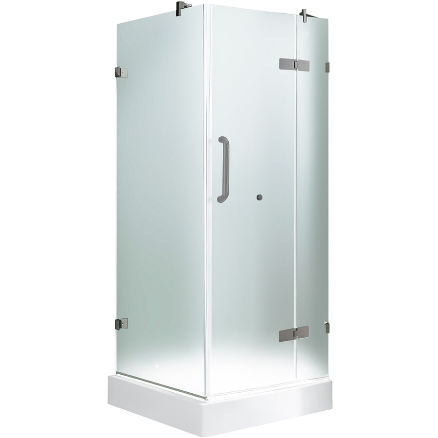 Shop VIGO Frameless Showers Brushed Nickel Walls Not Included Square ...