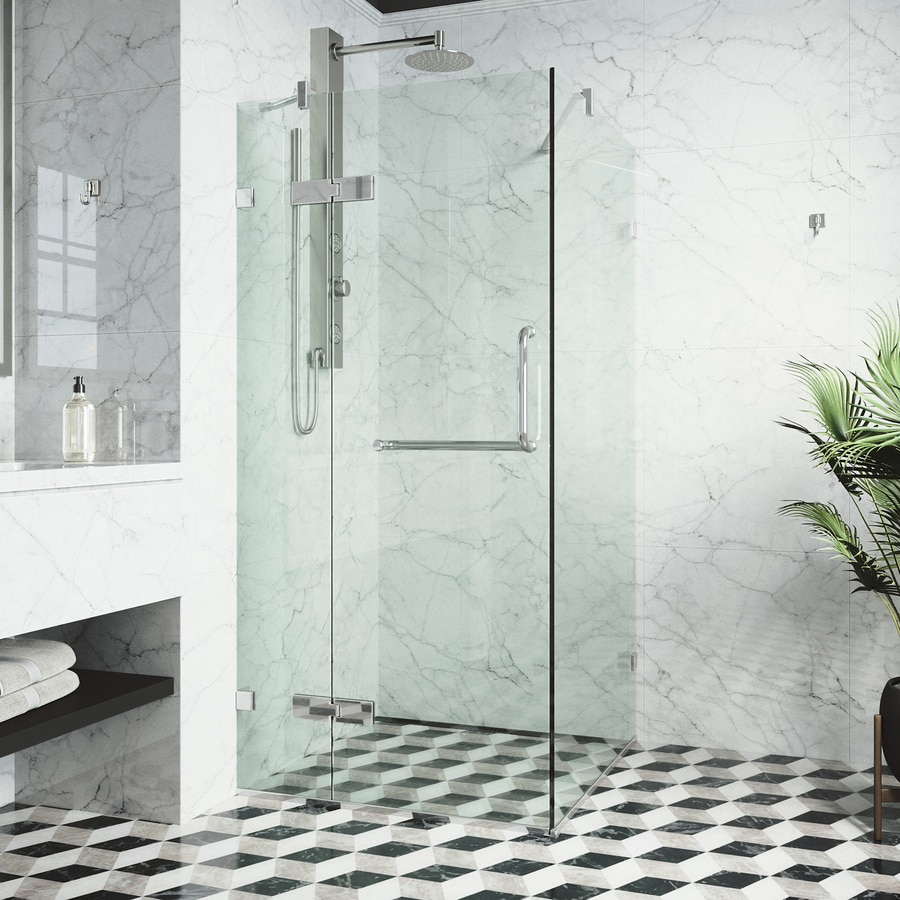 VIGO Monteray 30-in to 32-in Frameless Chrome Hinged Shower Door