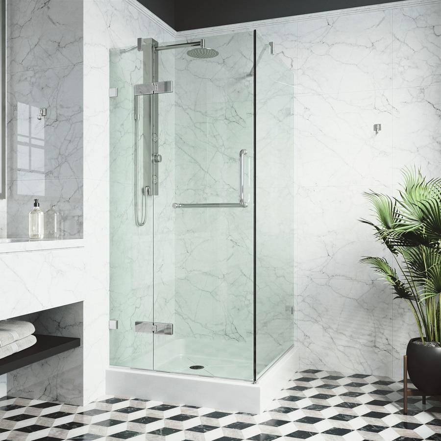 VIGO Monteray 30-in to 32-in Frameless Chrome Hinged Shower Door