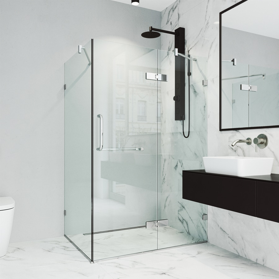 Shop Vigo Monteray 34 In W Chrome Hinged Shower Door At Lowes