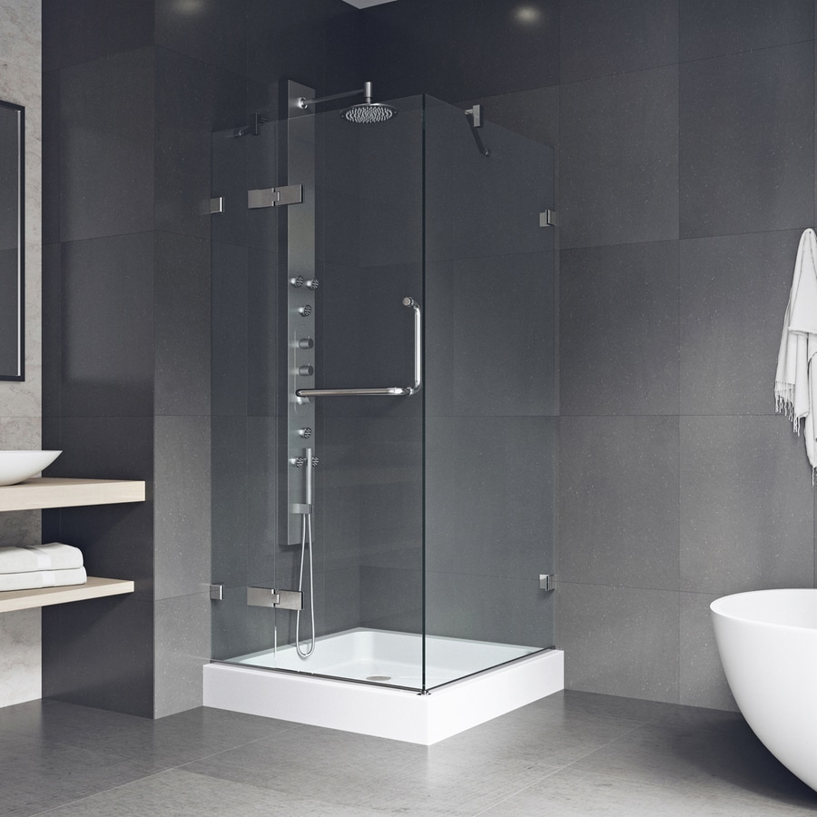 VIGO Monteray 36-in to 36-in Frameless Hinged Shower Door