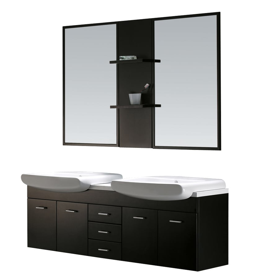 VIGO Wenge 58.875-in Dual Mount Double Sink Bathroom Vanity with Vitreous China Top (Mirror Included)