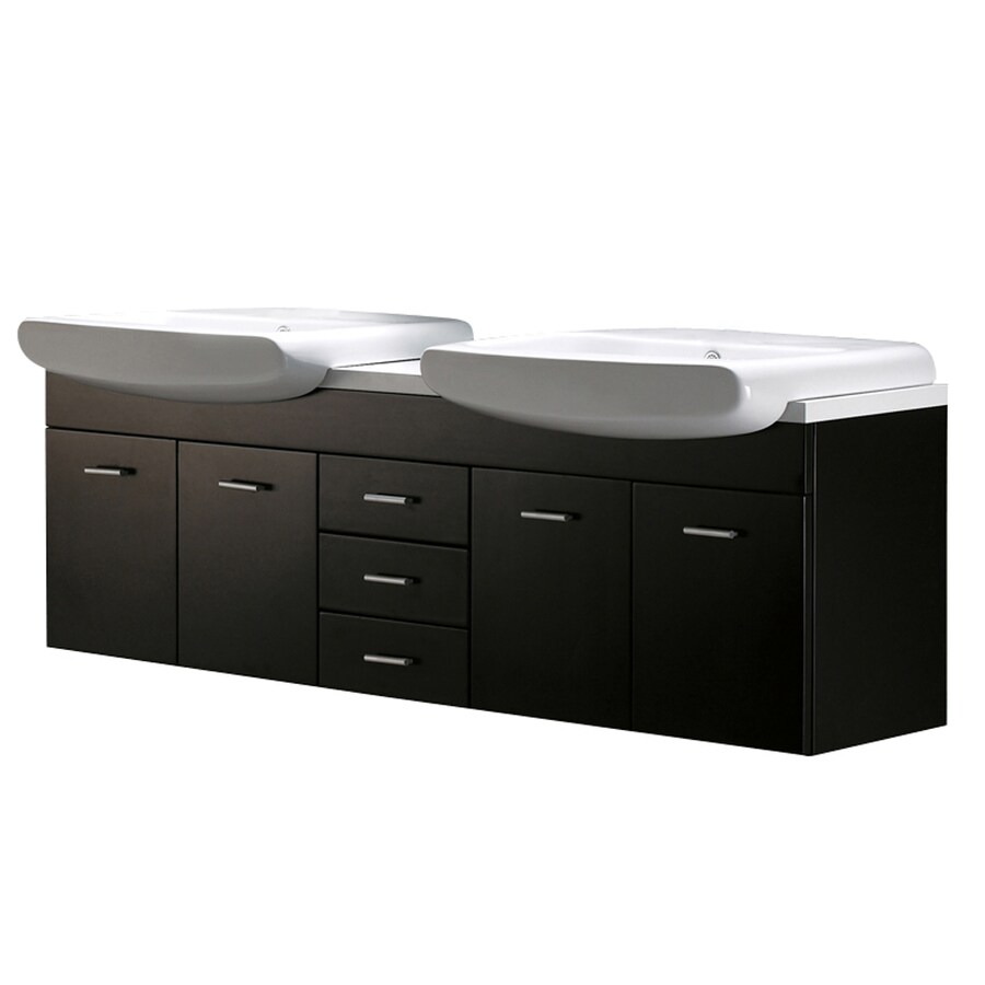 VIGO Wenge 58.875-in Dual Mount Double Sink Bathroom Vanity with Vitreous China Top