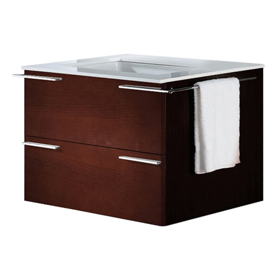 VIGO African Walnut (Common: 31-in x 23-in) Integral Single Sink Bathroom Vanity with Vitreous China Top (Actual: 31.25-in x 22.875-in)