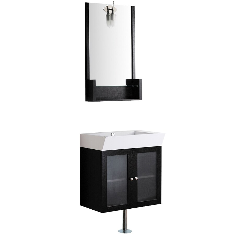 VIGO Wenge Integrated Single Sink Bathroom Vanity with Cultured Marble Top (Common: 25-in x 15-in; Actual: 25.5-in x 17.75-in)