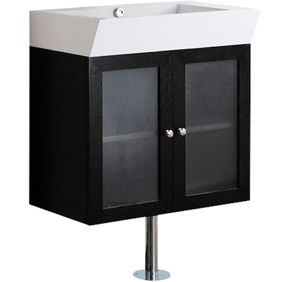 VIGO Wenge (Common: 25-in x 15-in) Integral Single Sink Bathroom Vanity with Cultured Marble Top (Actual: 25.5-in x 17.75-in)
