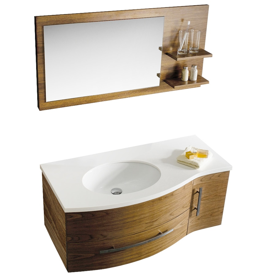 Vigo walnut integrated single sink bathroom vanity with - Lowes single sink bathroom vanity ...