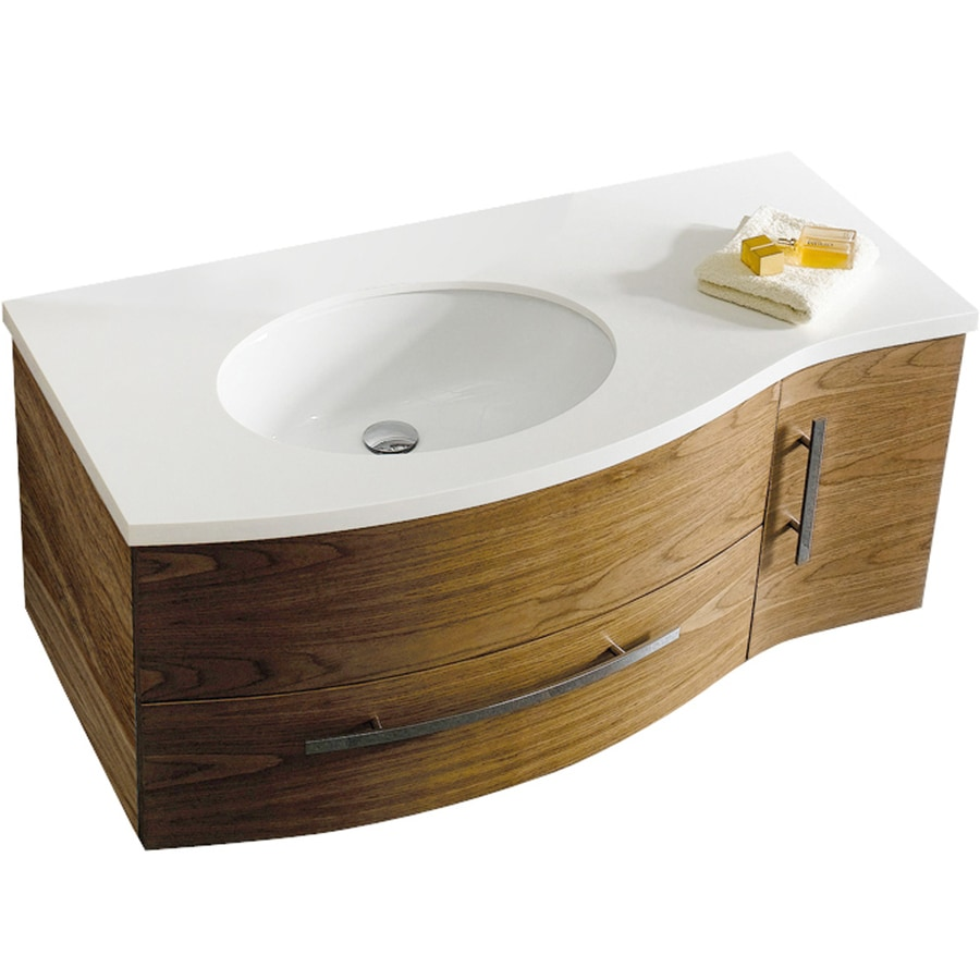 VIGO Walnut Integrated Single Sink Bathroom Vanity with Cultured Marble Top (Common: 44-in x 22-in; Actual: 44-in x 22-in)