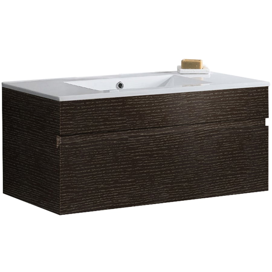 VIGO Wenge (Common: 34-in x 18-in) Integral Single Sink Bathroom Vanity with Vitreous China Top (Actual: 35.75-in x 18.125-in)