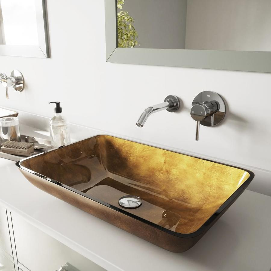 VIGO Copper/Chrome Glass Vessel Bathroom Sink with Faucet (Drain Included)