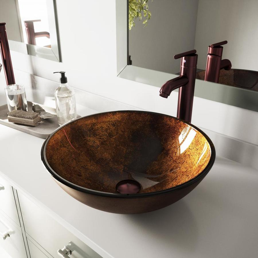 VIGO Bronze Glass Vessel Bathroom Sink with Faucet (Drain Included)