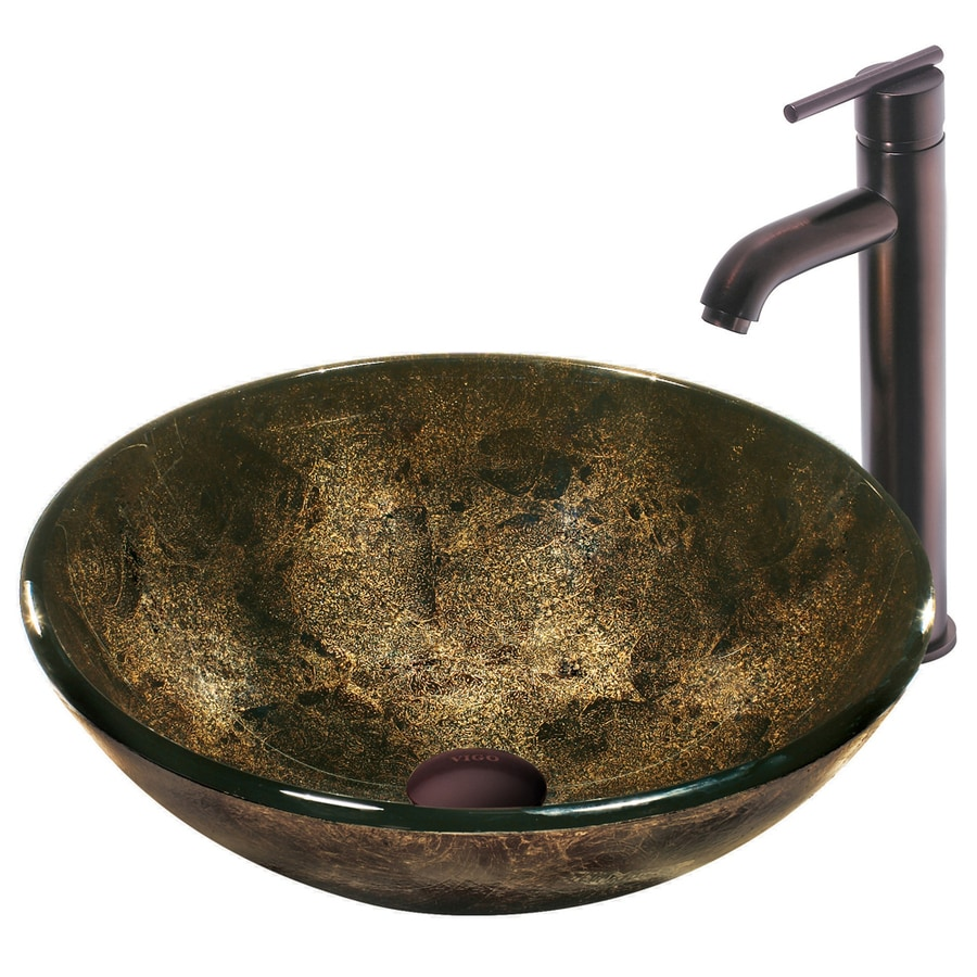 VIGO Multi Glass Vessel Bathroom Sink with Faucet (Drain Included)