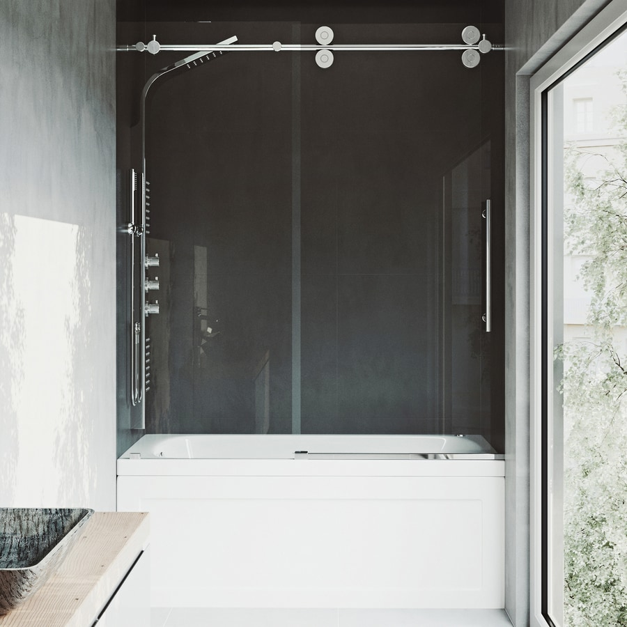 Bathroom shower doors frameless - Vigo Elan 60 In W X 66 In H Frameless Bathtub Door