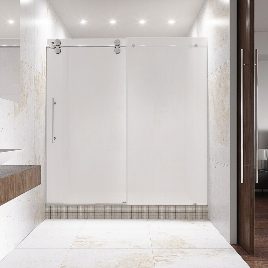 VIGO 56-in to 60-in Frameless Chrome Sliding Shower Door