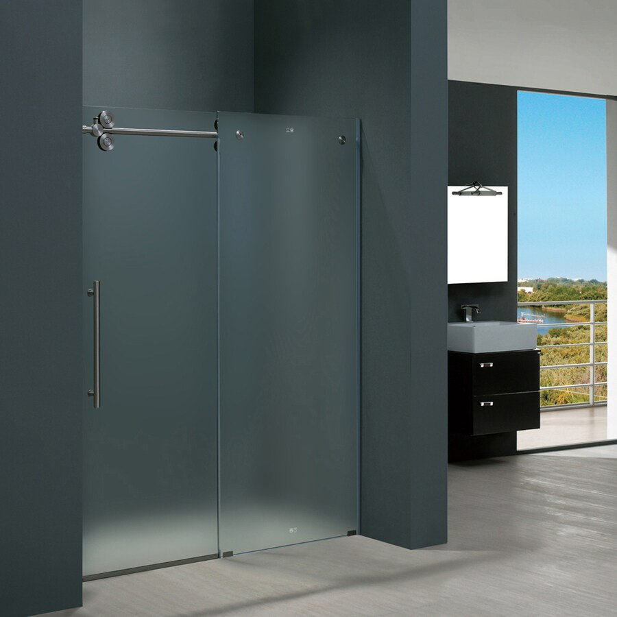 VIGO 56-in to 60-in W x 74-in H Frameless Sliding Shower Door