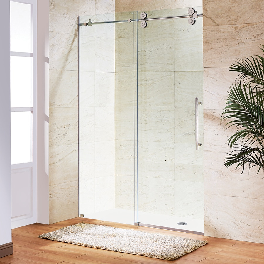 VIGO Elan 68-in to 72-in Frameless Stainless Steel Sliding Shower Door