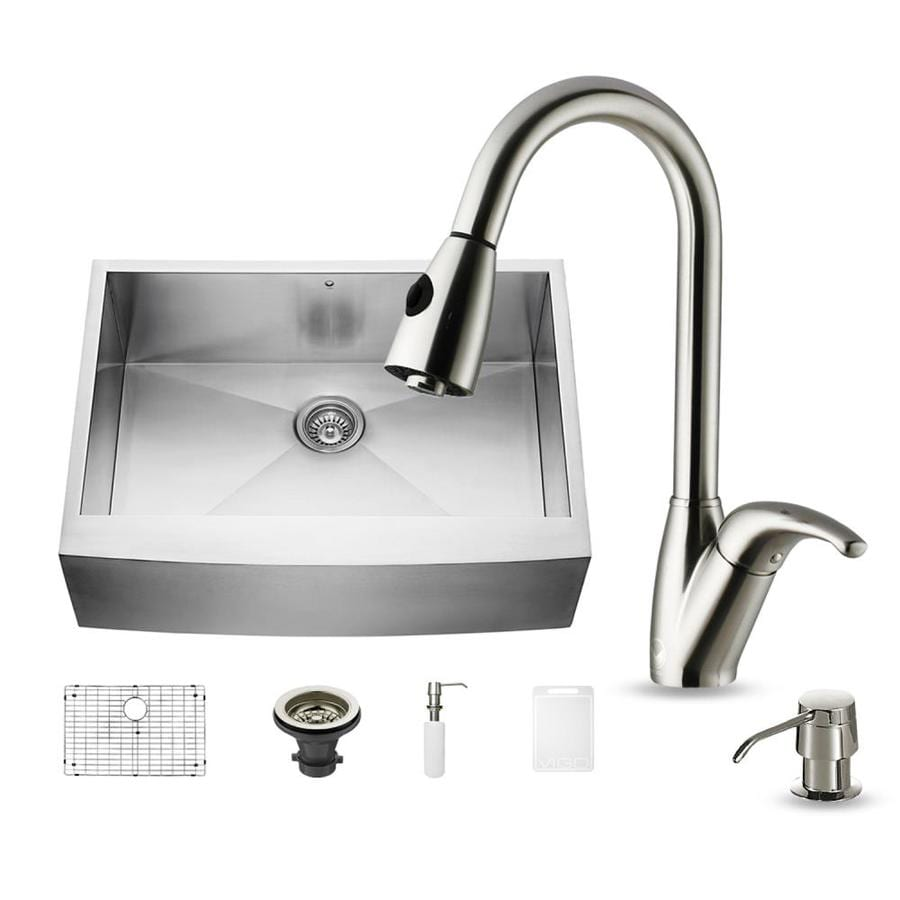 VIGO 30-in x 22.25-in Matte/Brushed Steel-Stainless Single-Basin Apron Front/Farmhouse Commercial/Residential Kitchen Sink All-In-One Kit