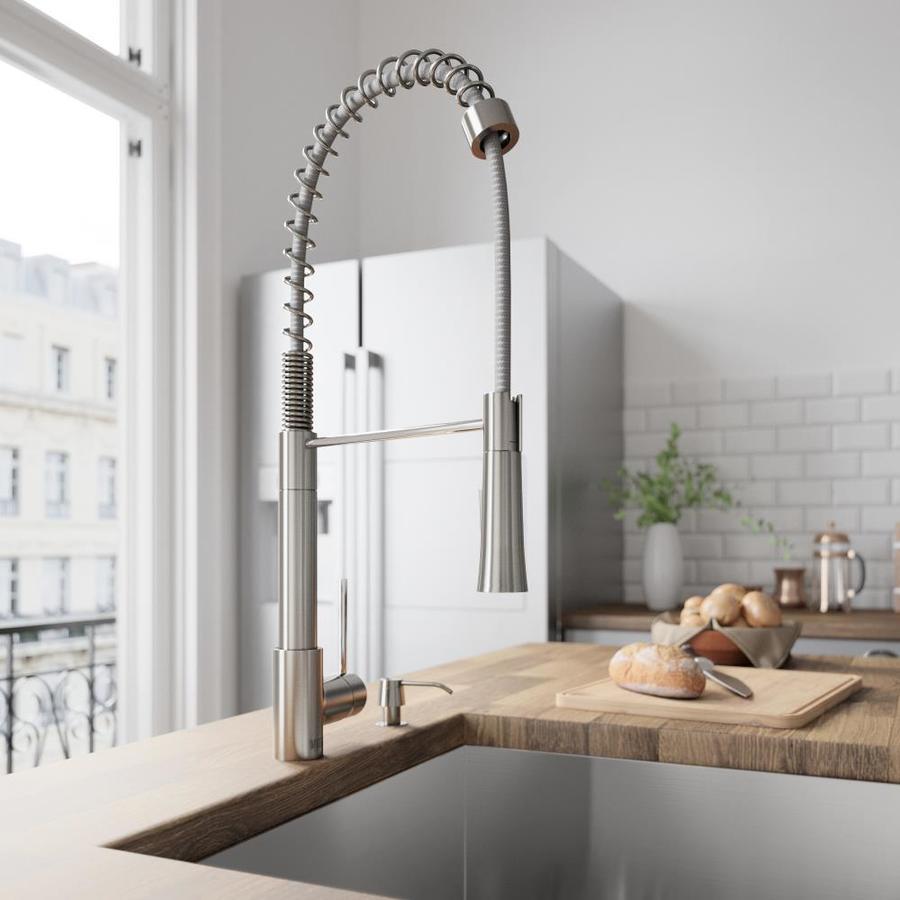 VIGO Laurelton Stainless Steel 1-Handle Deck Mount Pull-Down Kitchen Faucet