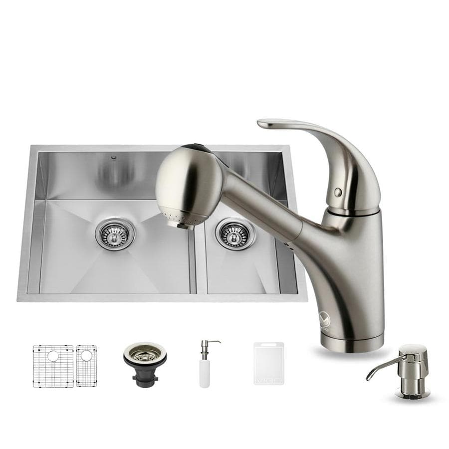 VIGO 29-in x 20-in Matte/Brushed Steel-Stainless Double-Basin Undermount Commercial/Residential Kitchen Sink All-In-One Kit