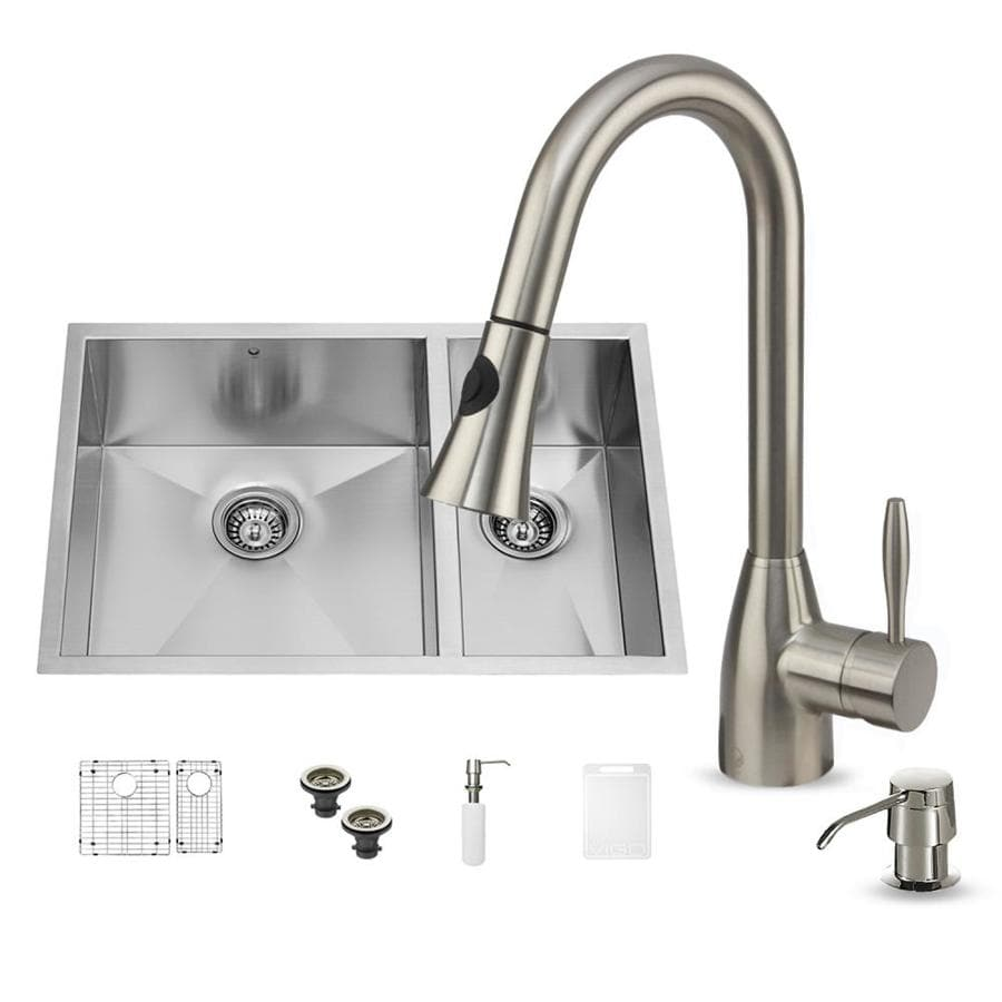 VIGO 29.0-in x 20.0-in Premium Satin Double-Basin Stainless Steel Undermount Commercial/Residential Kitchen Sink All-In-One Kit